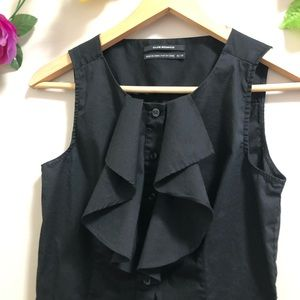 Club Monaco Tops - Club Monaco Black Ruffle Front Button down Blouse